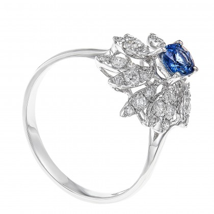 Oval Shape Blue Sapphire Round Diamond Ring in 750/18K White Gold LE2898650520(R)