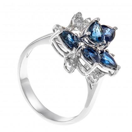 Pear Shape Blue Sapphire Round Diamond Ring in 750/18K White Gold LE2957200920R-BS-5X4
