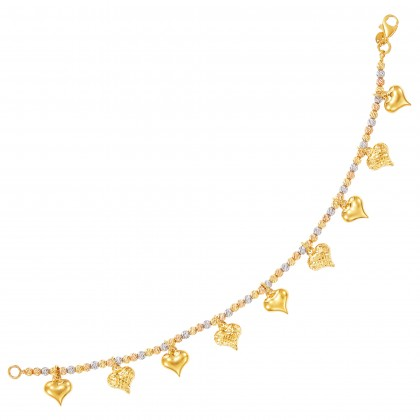 Oro Italia 916 Amore White, Yellow and Rose Gold Bracelet (9.94G) GW3591-TI