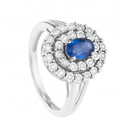 Oval Shape Blue Sapphire Halo Round Diamond Ring in 375/9K White Gold 24709