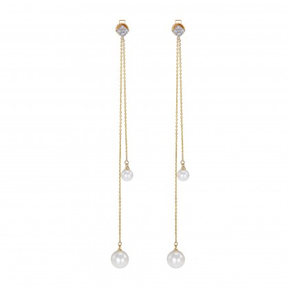 Eulalia Pearl Round Diamond Earrings in 375/9K Yellow Gold ER104824A