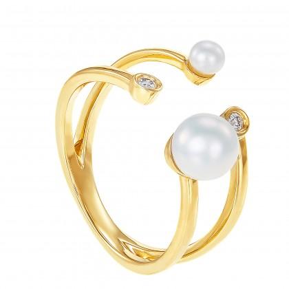 Ciara Pearl Round Diamond Ring in 375/9K Yellow Gold RG103452A