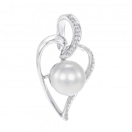 Waniya Pearl Round Diamond Pendant in 375/9K White Gold PN025187
