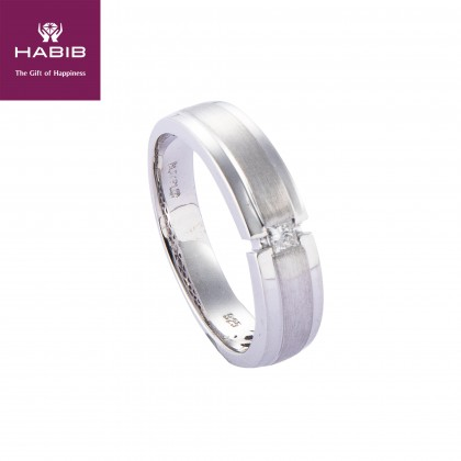 Flush Set Solitaire Princess Cut Men's Ring in 925/Palladium A0295(PLD)