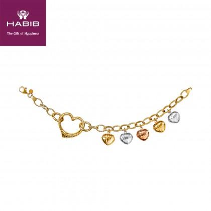 Oro Italia 916 Amore White, Yellow and Rose Gold Bracelet (13.00G) GW36450720-TI
