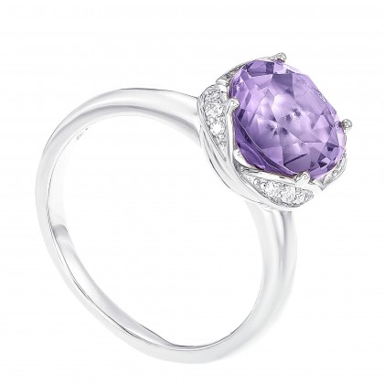 Round Cut Amethyst and Round Diamond Ring in 375/9K White Gold RG085495A-AMEH
