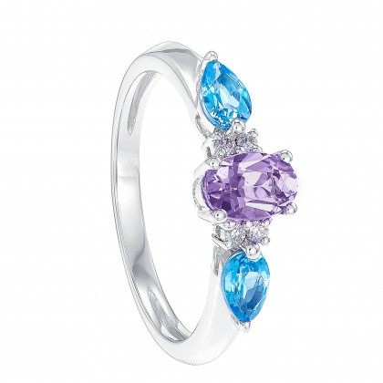 Pear Cut Blue Topaz, Oval Cut Amethyst and Diamond Ring in 375/9K White Gold RG061317D