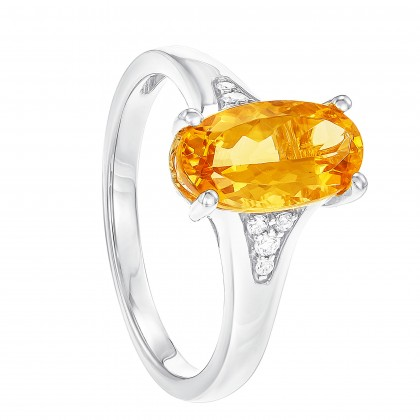 Oval Cut Citrine and Round Diamond Ring in 375/9K White Gold RG048075A-CITR-2