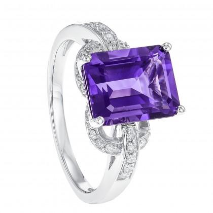 Emerald Cut Amethyst Round Diamond Ring in 375/9K White Gold RG048079A-AMEH