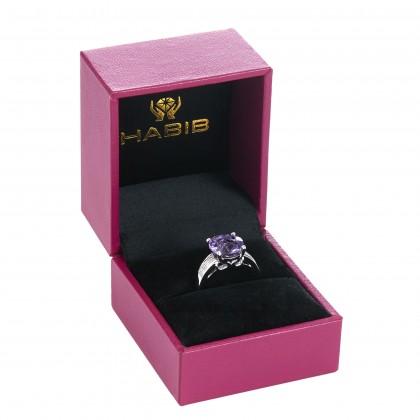 Round Cut Amethyst Diamond Ring in 375/9K White Gold RG038006B-AMEH
