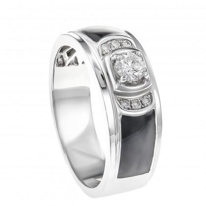 Round Diamond Enamel Men's Ring in 925/ Palladium 258400320(PLD)