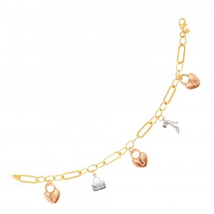 Oro Italia 916 White, Yellow and Rose Gold Bracelet (10.57G) GW37830421-TI