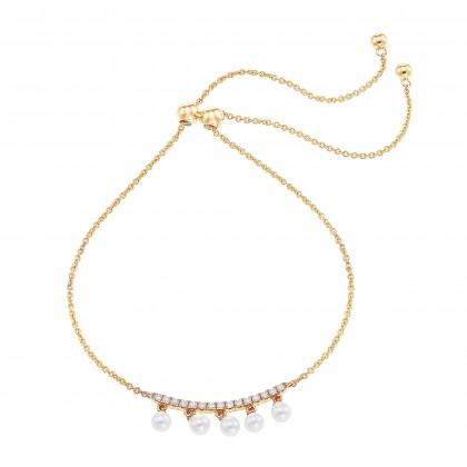 Pearl Round Bolo Diamond Bracelet in 375/9K Yellow Gold BL105053A