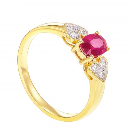 Oval Cut Ruby and Round Diamond Ring in 750/18K Yellow Gold 021640621-RY