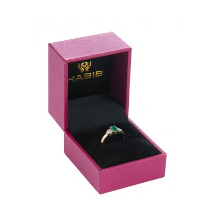 Oval Cut Emerald and Round Diamond Ring in 750/18K Yellow Gold 021640621-EM