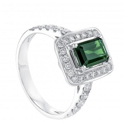 Rectagular Cut Tourmaline and Round Diamond Ring in 750/18K White Gold 25212-TURM
