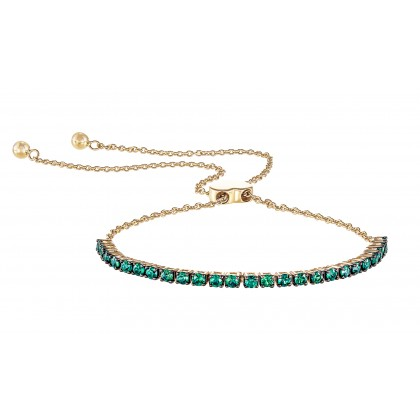 Round Cut Emerald Bolo Bracelet in 375/9K Yellow Gold 680080321(YG)-EM