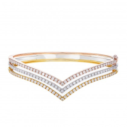 V Collection Round Diamond Bangle in 375/9K Yellow, White and Rose Gold 258480820(B)