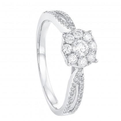 Round Diamond Ring in 750/18K White Gold 24247