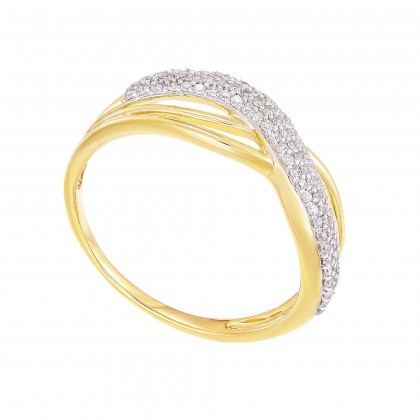 Pave Set Round Diamond Infinity Ring in 375/9K Yellow Gold 24815