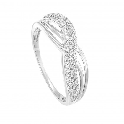 Pave Set Round Diamond Infinity Ring in 375/9K White Gold 24815