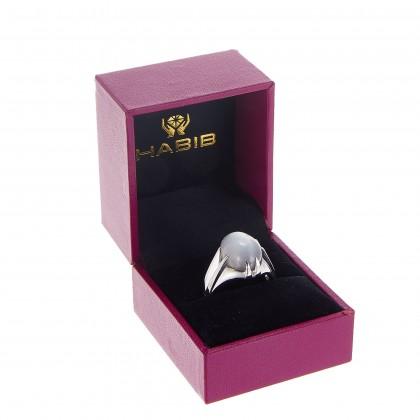 Moonstone Claw Set Men's Ring in 925/Palladium A0529(PLD)-MN