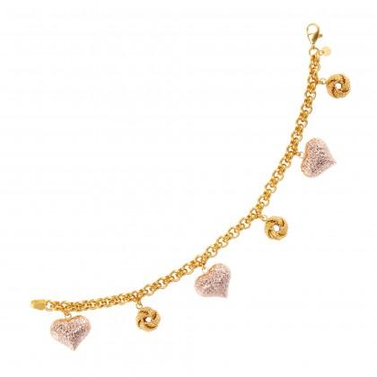 Oro Italia Amore 916 Rose and Yellow Gold Bracelet (15.01G) GW3394-BI