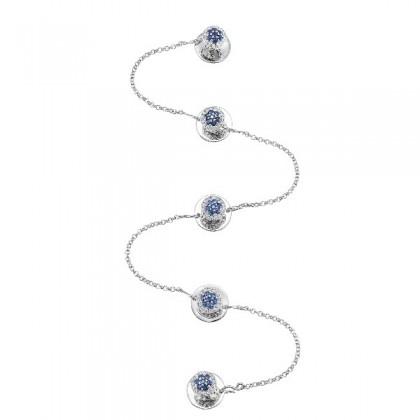 Blue Sapphire Round Diamond Men's Button in 925/Palladium 078070321(PLD)-BS