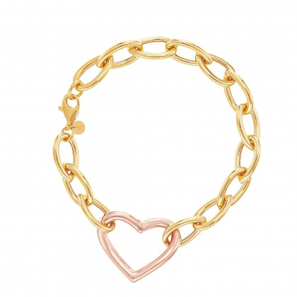 Oro Italia 916 Graffetta Yellow and Rose Gold Bracelet (13.77G) GW38720621(YR)-BI
