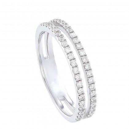 Dwa Double Row Micro Set Round Diamond Ring in 375/9K White Gold 260250321(WG)