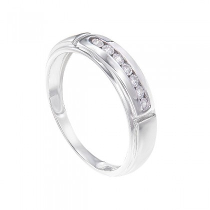 Channel Set Diamond Men's Ring in 925/ Palladium 260360321(PLD)