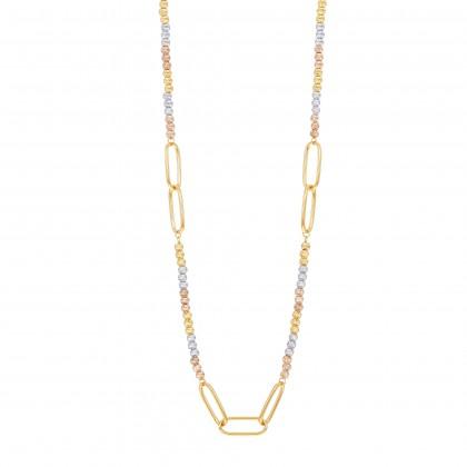 Oro Italia 916 White, Yellow and Rose Gold Necklace (14.52G) GC26130521-TI