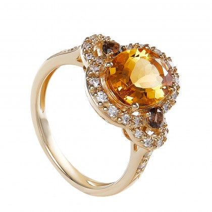 Oval Cut Citrine and Round Diamond Ring in 375/9K Yellow Gold 260370321