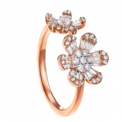 Baguette and Round Cut Diamond Ring in 375/9K White and Rose Gold 260280321(R)