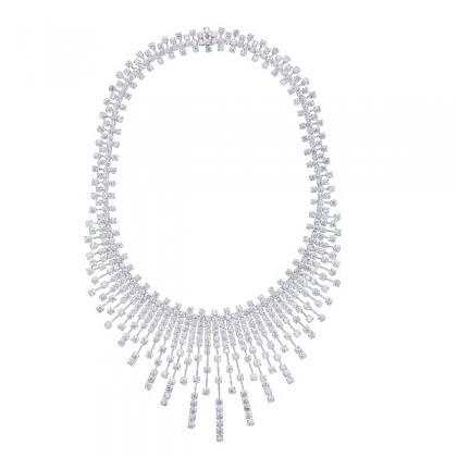 Round Diamond Necklace in 750/18K White Gold 260840521(N)