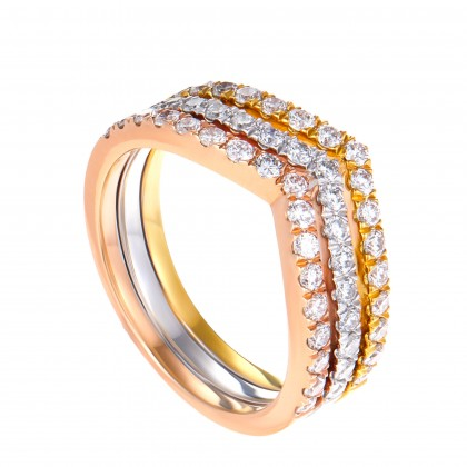V Collection Round Diamond Ring in 375/9K Yellow, White and Rose Gold 258480320