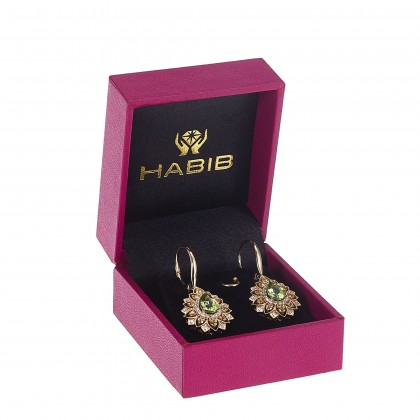 Pear Cut Peridot and Yellow Sapphire Round Diamond Earrings in 375/9K Yellow Gold 456630321(E)