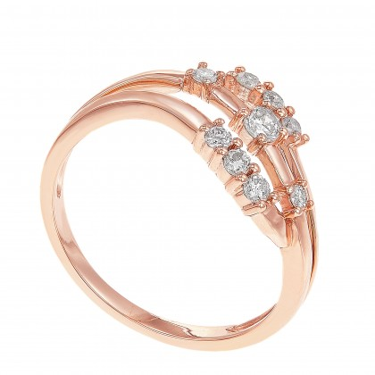 Young Collection Wave Band Round Diamond Ring in 375/9K Rose Gold 261120721
