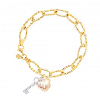 Oro Italia 916 Graffetta White, Yellow and Rose Gold Bracelet (12.84G) GW37820421-TI