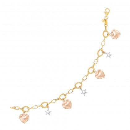 Oro Italia 916 Amore White, Yellow and Rose Gold Bracelet (8.95G) GW37780421-TI