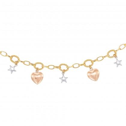 Oro Italia 916 Amore White, Yellow and Rose Gold Bracelet (9.60G) GW37780421-TI