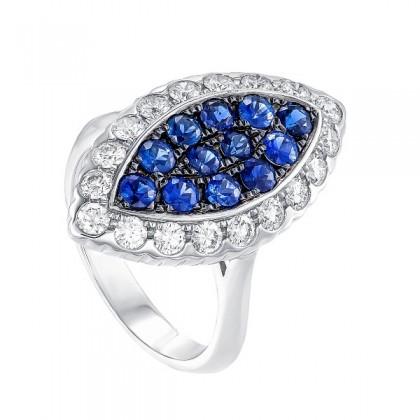 Buah Kana Blue Sapphire Diamond Ring in 750/18K White Gold 25151-BS