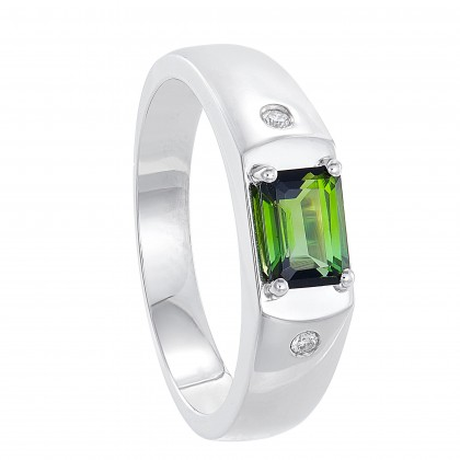 Emerald Cut Tourmaline and Diamond Men's Ring in 925/Palladium 119630421(PLD)