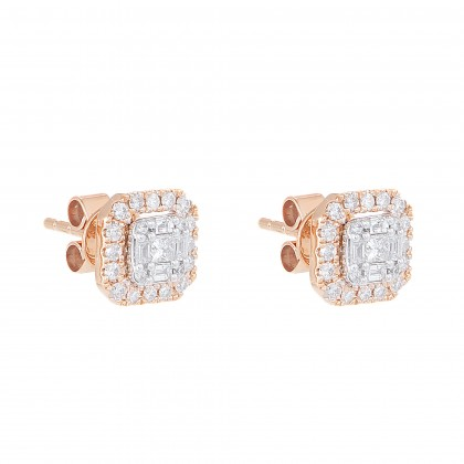 Fire on Ice Princess, Baguette and Round Cut Diamond Earrings in 375/9K Rose Gold 260990621(E)