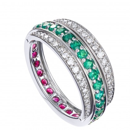 Butterfly Round Cut Emerald, Ruby and Diamond Ring in 375/9K White Gold 259261120(RYEM)