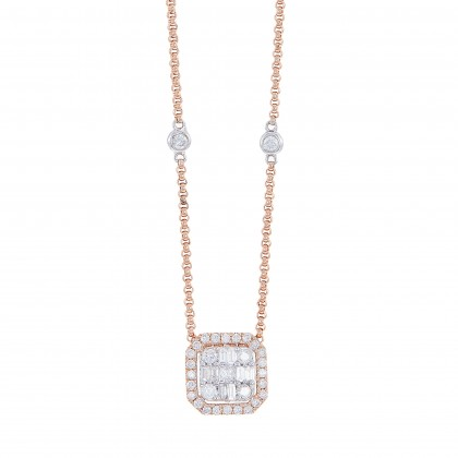 Fire on Ice Princess, Baguette and Round Cut Diamond Necklace in 375/9K Rose Gold 260990721(N)