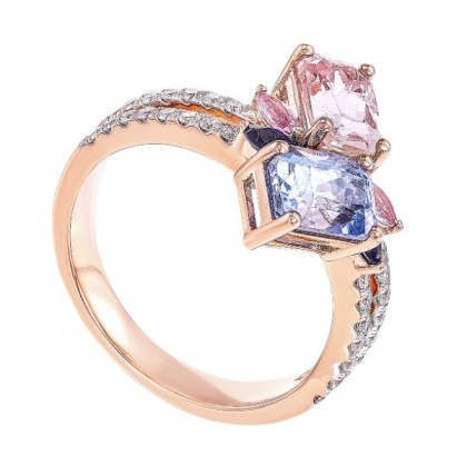 Split Shank Fancy Cut Blue, Pink and Peach Sapphire Diamond Ring in 750/18K Rose Gold LE3455230721