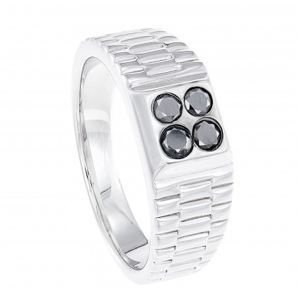 Round Diamond Men's Ring in 925/ Palladium 119590520(PLD)