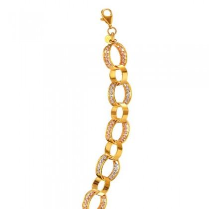 Oro Italia 916 White, Yellow and Rose Gold Bracelet (11.60G) GW3527-TI