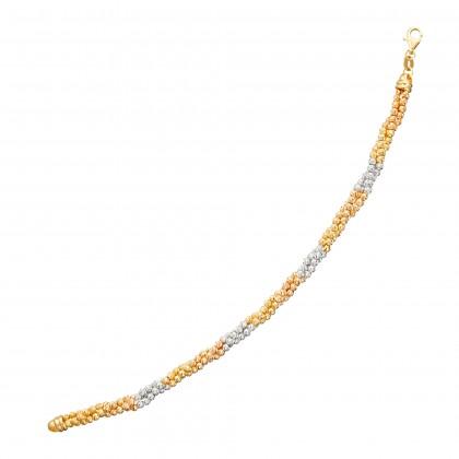 Oro Italia 916 White, Yellow and Rose Gold Bracelet (14.03G) GW36060120-TI